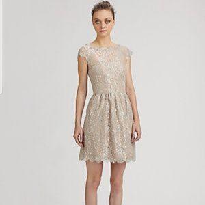 Aidan Mattox Silver Lace Dress
